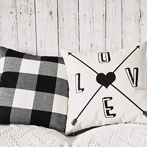 PANDICORN Set of 2 Farmhouse Decorative Throw Pillow Covers, Rustic Linen Throw Pillow Cases with Inspirational Words Love Arrow Heart, Black and White Buffalo Check Pillowcases for Sofa, 18x18 - Heart Pillow Plaid