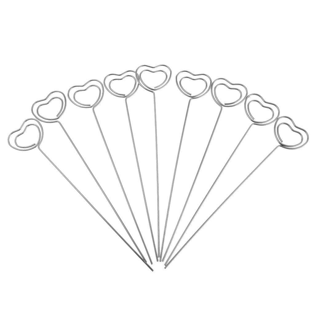 SM SunniMix Bulk Sale Scrolled Wire Photo Clip, Table Place Memo Card Holder for Wedding Meeting,Party Name Card - Heart Shape 120x22mm