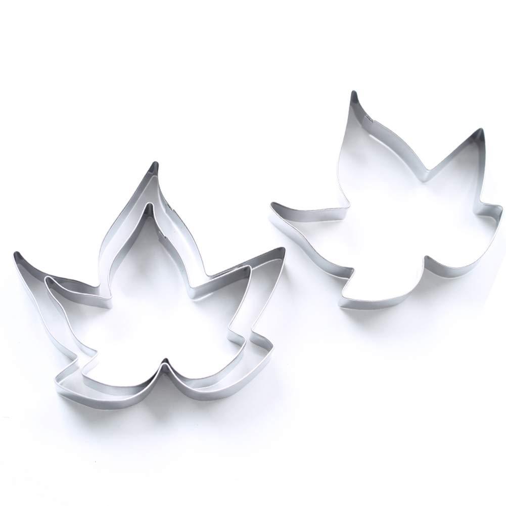 Moldes de hoja, acero inoxidable con forma de hoja de arce para tartas, moldes para hornear galletas (3 piezas) Tamaño libre plata: Amazon.es: Hogar
