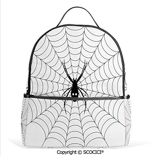 Lightweight Chic Bookbag Poisonous Bug Venom Thread Circular Cobweb Arachnid Cartoon Halloween Icon Decorative,Black White,Satchel Travel Bag Daypack -