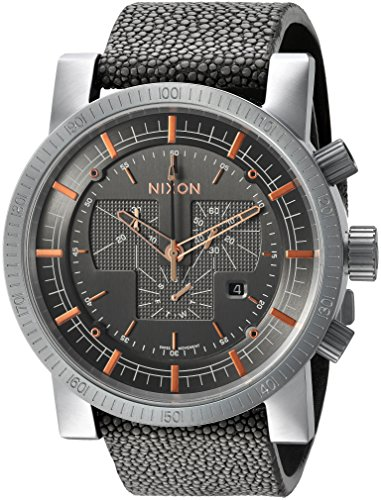 Nixon Men's 'Magnacon II' Swiss Quartz Stainless Steel and Leather Watch, Color:Grey (Model: A4582146)