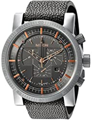 Nixon Mens Magnacon II Swiss Quartz Stainless Steel and Leather Watch, Color:Grey (Model: A4582146)