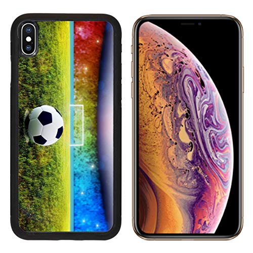 Luxlady Apple iPhone Xs Case Aluminum Backplate Bumper Snap Cases Soccer Ball on Penalty Disk in The Stadium Image ID 7127177