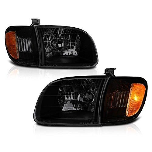 VIPMOTOZ Black Smoke OE-Style Headlight & Corner Side Marker Lamp Assembly For 2000-2004 Toyta Tundra 2-Door Cab Model, Driver & Passenger Side