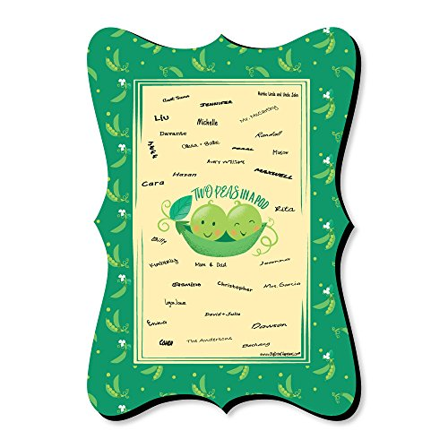 Double The Fun - Twins Two Peas in a Pod - Unique Alternative Guest Book - Baby Shower or First Birthday Party Signature Mat ()