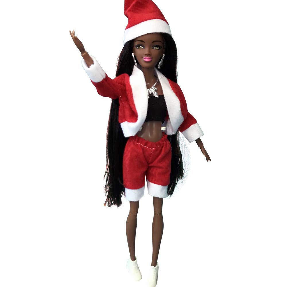 HHei/_K Kids Doll Toys Movable Joint African Doll Toy Black Doll