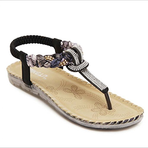 Sandals Amazing Women's Summer Rhinestone Bead Bohemia Folk Round Clip Toe Boho Beach Flat Elastic T-Strap Post Thong Shoes (Color : Black, Size : EU43/UK9.5/CN45) Black