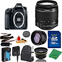 Great Value Bundle for 80D DSLR – 18-55mm STM + 32GB Memory + Wide Angle + Telephoto Lens + Backpack
