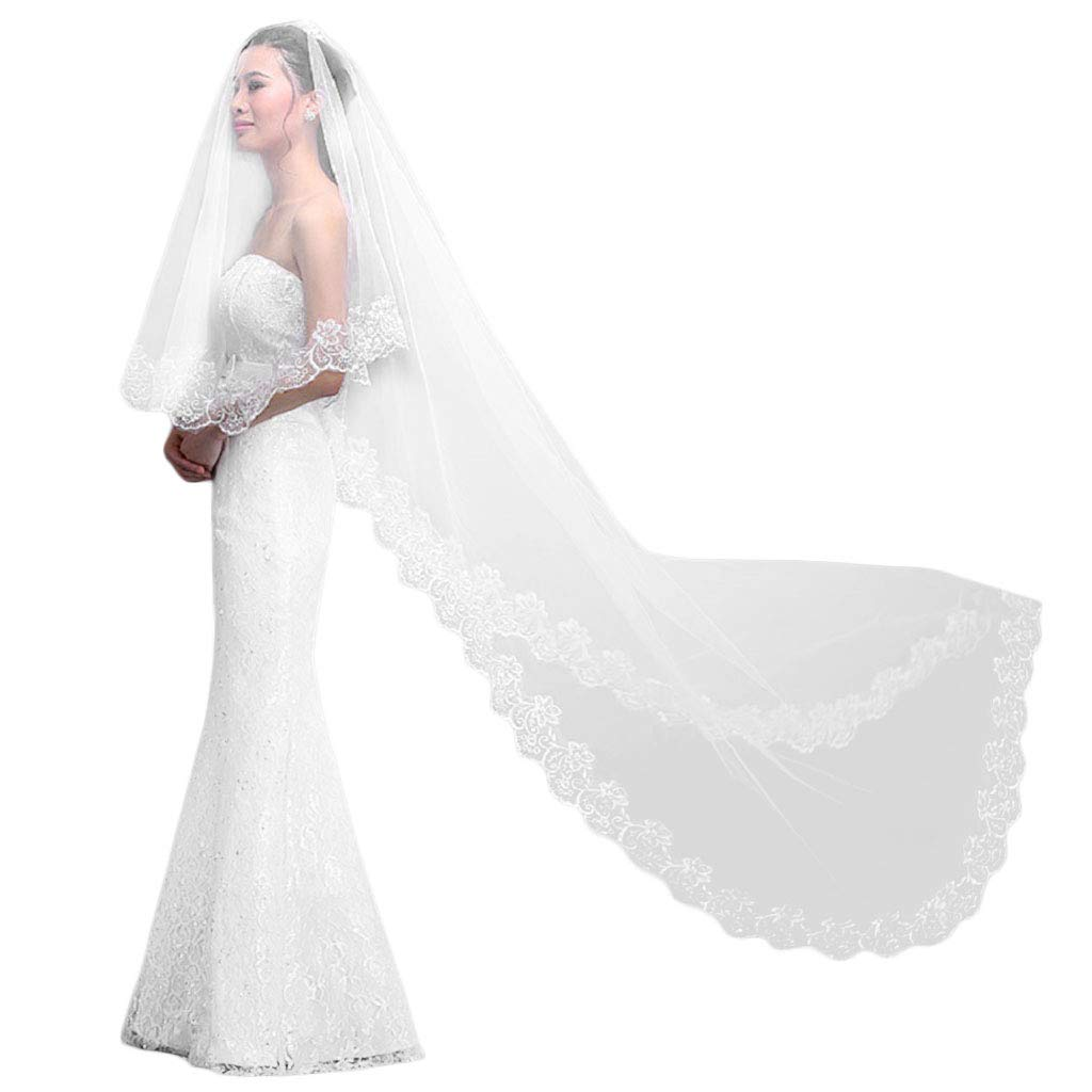 Wedding Veil With Comb Long 3M Lace Edge Bridal Cathedral Bridal Veil 1 Layer Patry Accessories