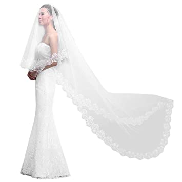 Sound of blossoming Womens 1 Layer Tulle Wedding Veil Cathedral Bridal Veils Long for Bride 3M S11007
