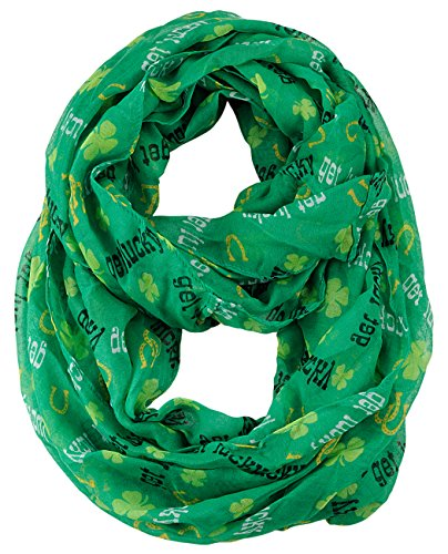 D&Y Women's St. Patrick's Day Lucky Clover Sheer Infinity Loop Scarf, Get Lucky, Green