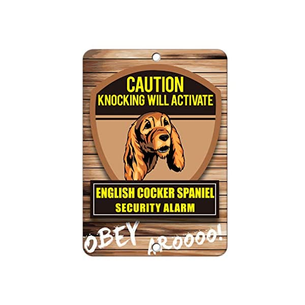 Aluminum Metal Sign Funny Knocking Will Activate English Cocker Spaniel Dog Informative Novelty Wall Art Vertical 12INx18IN 1