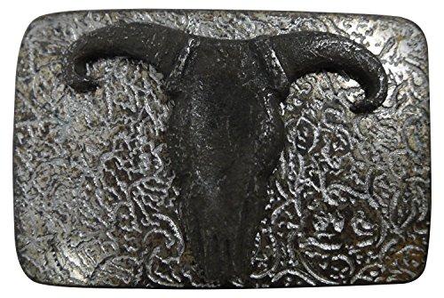 ull belt buckle, antique silver, 1.5'/4cm, longhorn buckle, Color Silver color, One Size:One Size ()