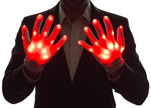 [Neon Nightlife Light Up Gloves for Kids, LED, Red] (Neon Party Outfits)