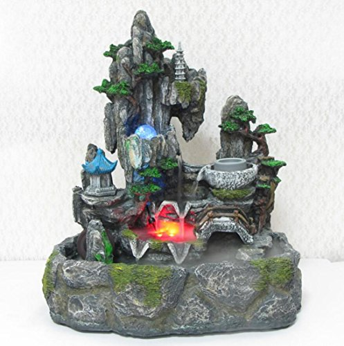 GLu0026G Large Rockery Water Indoor Floor Standing Fountains Fish Pond Lucky  Living Room Office Water