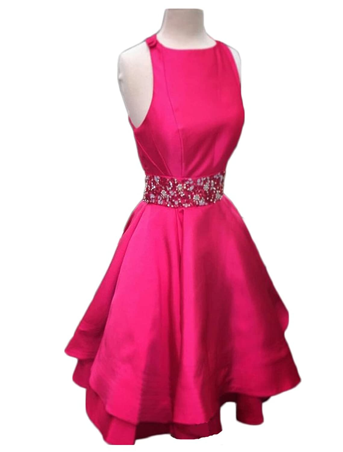 TBGirl Hot Style A-line Jewel Neck Cross Back Satin Homecoming Dresses