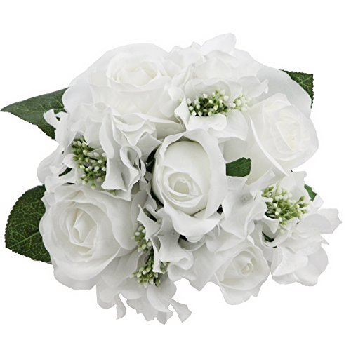 Admired By Nature 9 Stems Artificial Rose Hydrangea Mixed Bouquet, White