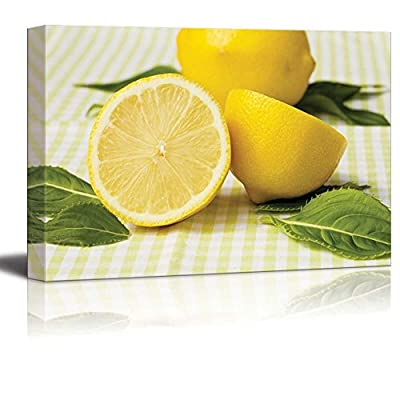 Canvas Prints Wall Art - Still Life Fresh/Natural Yellow Lemon | Modern Wall Decor/Home Art Stretched Gallery Canvas Wraps Giclee Print & Ready to Hang - 24