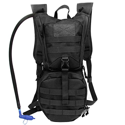 Hydration Pack Tactical Backpack with 3L Water Bladder Reservoir for Hiking Cycling Hunting Running (Black) (Marine Corps Gear Tactical)