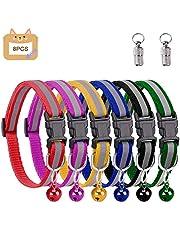 Grebarley Katzenhalsband,Katzenhalsbänder mit Glocke, reflektierend, individuell einstellbar, fluoreszierend mit Schnellverschluss/Sicherheitsschnalle, geeignet für die meisten Hauskatzen