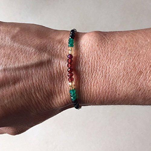 Tribe Silver 3mm (JP_Beads Rasta Bracelet, Black Spinel Green Onyx Citrine Garnet Karen Hill Tribe Thai Silver Beaded Bracelet with Dangle, Sundance Style, Boho Stack 3-4mm)