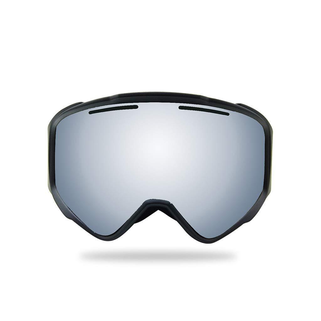 スキーゴーグル、取り外し可能なレンズ角度防曇大きな球形スキースノーボードスケート雪男性女性とプロの紫外線保護メガネ (色 : Black) B07SWZFNTB Black