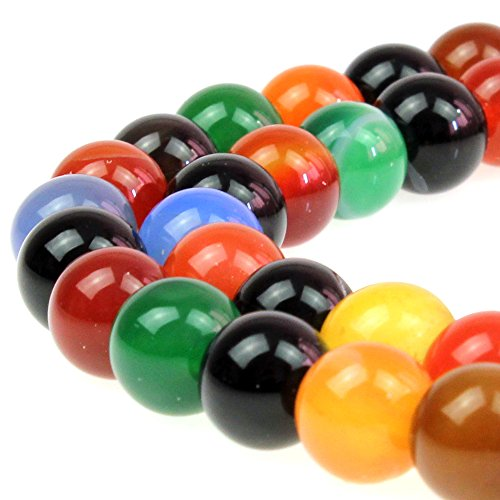JARTC Natural Stone Beads Colorful Agate Round Loose Beads For DIY Necklace Bracelat Jewelry Making (8mm)
