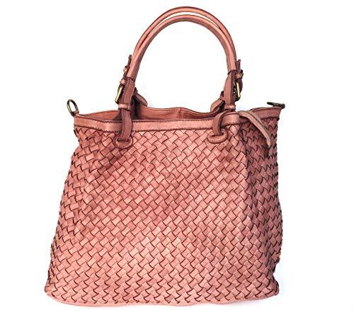 Italy main en Made à véritable Sac bandoulière rose modèle Superflybags ou à Granada modèle cuir tressé AU6Eg