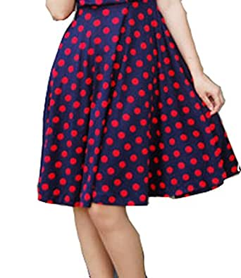 BI.TENCON Women Vintage Skirt Polka Dot Smock Waist Rockabilly Swing Casual Party Skirts (Small, Blue and Red Dot)