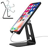 Adjustable Cell Phone Stand,Ahere Multi-Angle Aluminum Desktop Cell Phone Cradle, Dock, Stand for iPhone 6 6s 7 8 X Plus Samsung Galaxy All Android Smartphone Tablets,Black