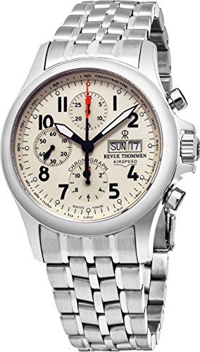 Revue Thommen Air Speed Pilot 41 MM Mens White Dial Stainless Steel Automatic Chronograph Day Date Swiss Watch 17081.6138