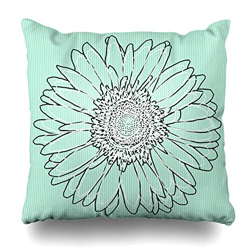 Pakaku Decorativepillows Case Throw Pillows Covers for Couch/Bed 16 x 16 inch,Mint Green Daisy Floral Art Daisy Gerber Art Home Sofa Cushion Cover Pillowcase Gift Bed Car Living Home