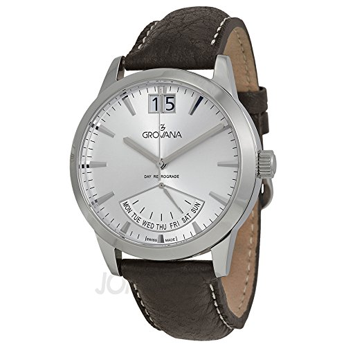 Grovana Men's 1722.1532 Retrograde Day Retrograde Silver Dial Watch