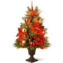 National Tree 36 Inch Decorative Home For the Holidays Entrance Tree with Ball Ornaments, Cones, Berries and 50 Clear Lights in Decorative Urn (DC13-110L-36P)