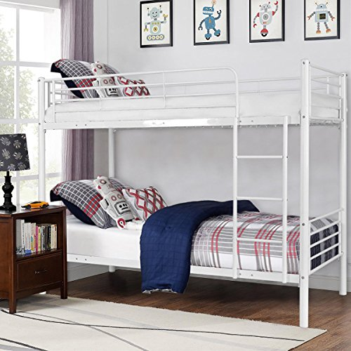 Costzon Twin Over Twin Bunk Bed, Metal Frame with Ladder for Teens Dorm Bedroom (White) (Bed White Over Twin Bunk Twin)