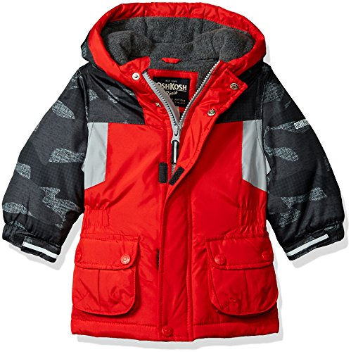 - OshKosh B'Gosh Baby Boys Awesome Heavyweight Blocked Jacket Coat, Red/Camo, 12M