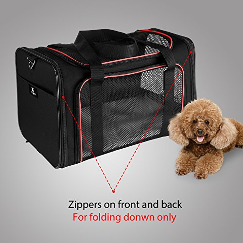 X-ZONE PET Airline Approved Pet Carriers,Soft Sided collapsible Pet travel Carrier for medium puppy and cats (Large, Black&red) by X-ZONE PET (Image #5)
