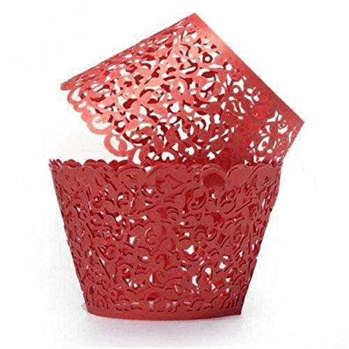 [GRM[TM] 100PCS/Lot Red Vine Lace Laser Cut Valentine Cupcake Baking Cups Liners Muffin Liner Cake Paper Mold Cup Wrapper Liner Baking Wedding Birthday Christmas Party] (Tin Foil Robot Costume)