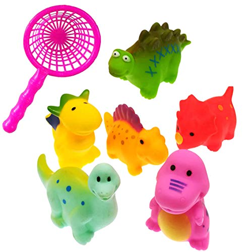 NiGHT LiONS TECH 7 Pcs Bath Toys set Fishing Net spray water dinosaur toys Floating Animals Water Toy Baby Bathroom Pool Accessory Bath Game for Toddler Kids ()