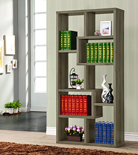 Coaster Contemporary Weathered Grey Multiple Cubed Rectangular (Antique French Bookcase)