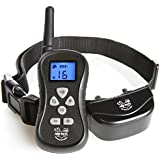 Bark Control Training Collar for Dogs - 16 Levels of Shock, Vibration and Beep, IPX6 Water Resistant with Remote, Up to 300 Yards with Adjustable Collar for Small, Large Breeds - Arf Pets