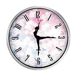 12-Inch Non-Ticking Silent Wall Clock With Modern and Nice Dancing Design For Living Room Large Kitchen, Metal Frame Round Wall Clock Battery Operated(Cherry, Silver)
