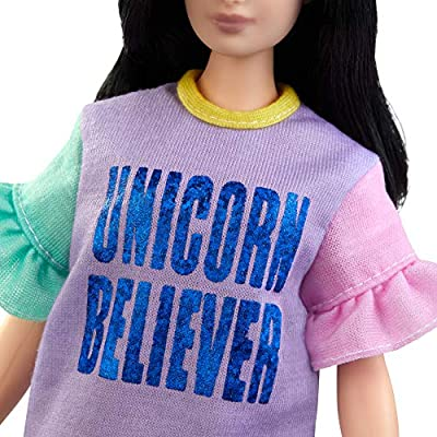 """Barbie Fashionistas Doll with Long Brunette Hair Wearing """"Unicorn Believer"""" Dress and Accessories, for 3 to 8 Year Olds: Toys & Games"""