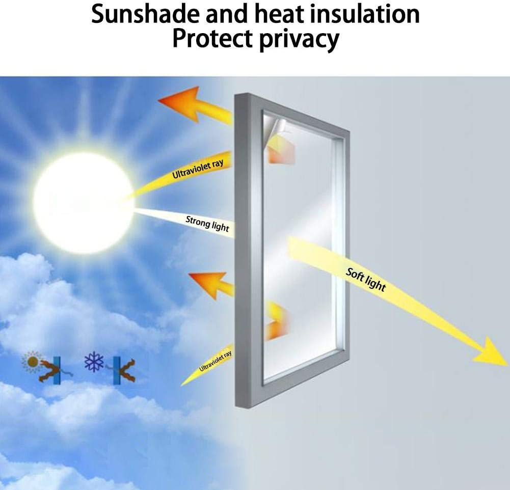 Mirror Film Daytime One Way Window Film Anti UV Self Adhesive Reflective Heat Control Privacy Window Tint Film for Home /& Office