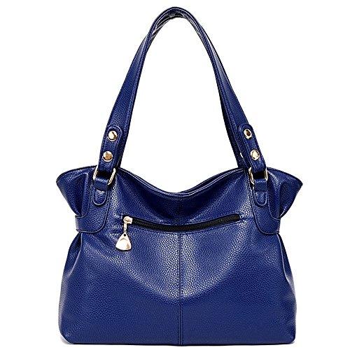 Womens Shoulder Tote Pu Thigh Handbags Leather Afcity Dark Bag capacity Large Satchel Blue Bag Messenger Purses dqdOA