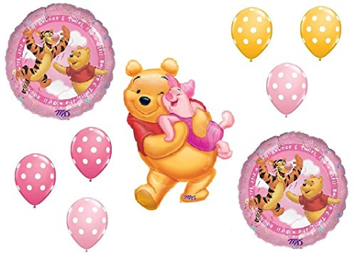 DalvayDelights Winnie the Pooh and Piglet Baby GIRL Shower Welcome Little One Balloons Bouquet Party Decor]()