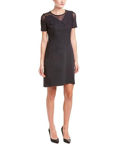 Elie Tahari Womens Tanner Textured Mesh Inset Cocktail Dress