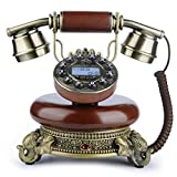 Classical Corded Phone, BNEST Vintage Landline Desk Phone Old Style Home Deocration Phone for Bedroom Living Room Office Decor (Wood color)
