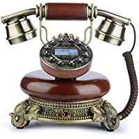 Vintage Telephone , BNEST Wood Retro Phone with Caller ID Push Button Home Decor Antique Desk Phone with Headset Classical Emergency Home Phone for Bedroom Living Room Office Decoration-Brown