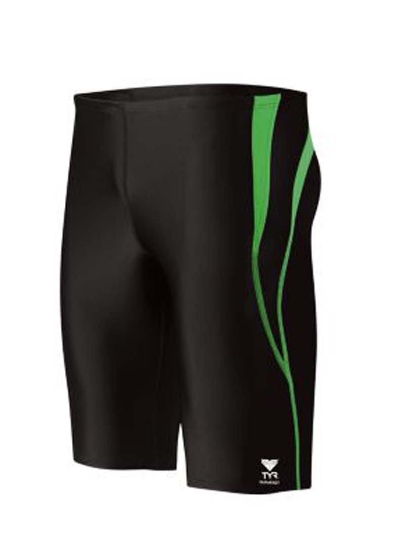 TYR Men's Alliance Durafast Splice Jammer Swim Suit (Black/Green, 32)